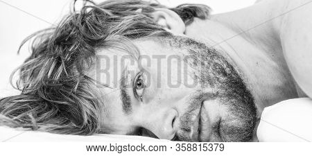 Man Unshaven Bearded Face Sleep Relax Or Just Wake Up. Simple Tips To Improve Your Sleep. Guy Bearde
