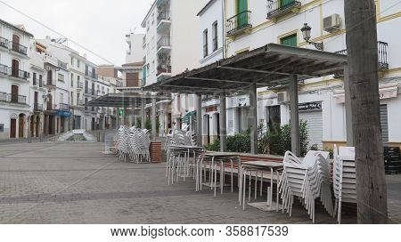 Alora, Spain - March 15, 2020: View Of Empty Village Square Day 1 Of Lock-down