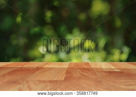 Empty Wooden Plank Table For Product Placement Mock Up .template Montage Product Display And Copy Sp