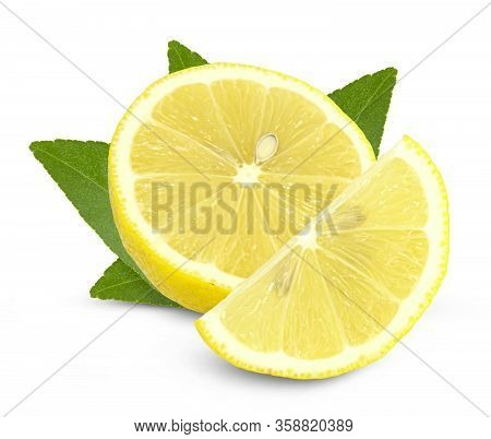 Lemon Fruit With Leaf Isolated On White Background Clipping Path