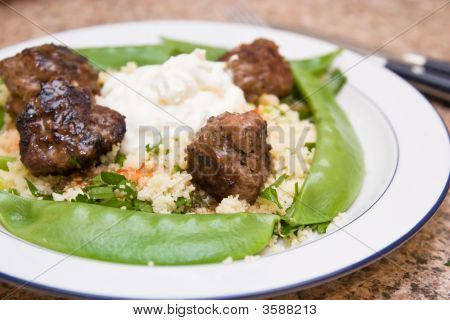 Plate With A Meal Of Meatballs