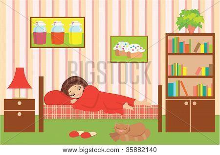 Woman Cartoon Sleeps