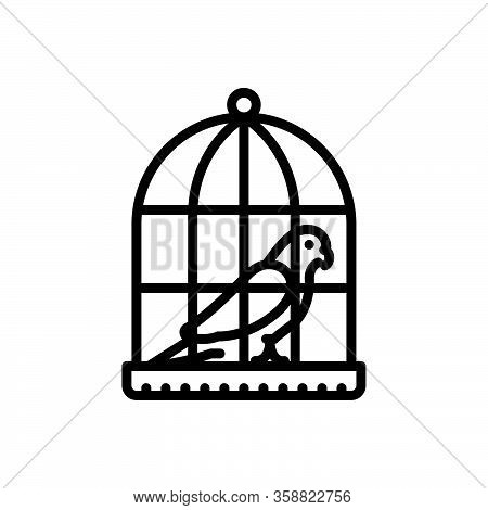 Black Line Icon For Parrot-in-a-cage Parrot Cage Birds Birdcage Domestic Feather Prisoner
