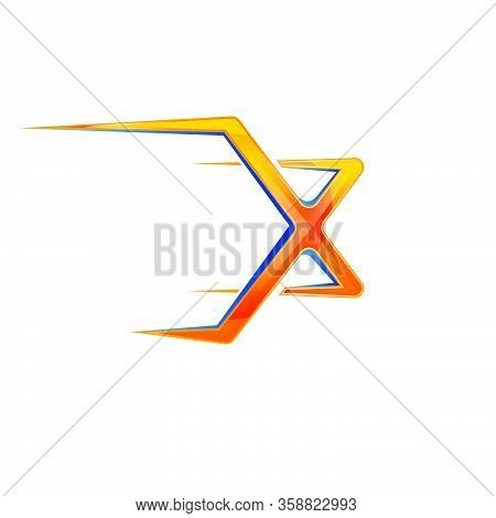 Sporty Powerfull Initial X Letter Logo Design Vector Concept Illustration