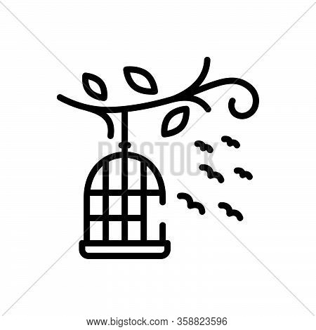 Black Line Icon For Birds-outside-of-cage Cage Birds Freedom Flying Liberty Relinquish Birdcage Hang