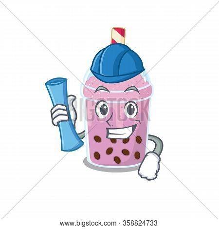 Cartoon Character Of Taro Bubble Tea Brainy Architect With Blue Prints And Blue Helmet