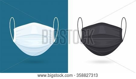 Black And White Medical Or Surgical Face Masks. Virus Protection. Breathing Respirator Mask. Healthc