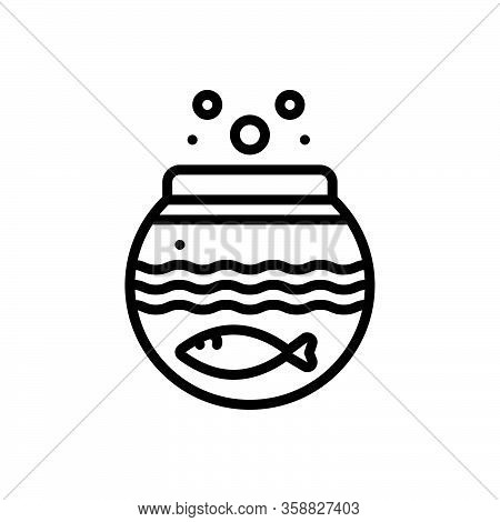 Black Line Icon For Fish-inside-the-bowl Fish Fishbowl Aquariums Water Seafood Swimming