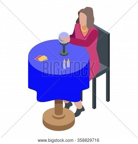 Fortune Teller Icon. Isometric Of Fortune Teller Vector Icon For Web Design Isolated On White Backgr