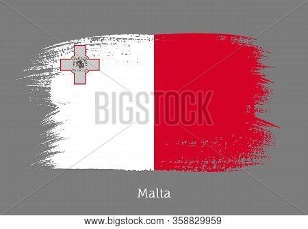 Malta Official Flag In Shape Of Paintbrush Stroke. Maltese National Identity Symbol. Grunge Brush Bl