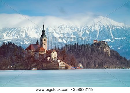 Lake Bled, Slovenia. Image Of Lake Bled With Small Bled Island During Spring Sunrise.