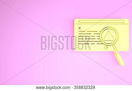 Yellow System Bug Concept Icon Isolated On Pink Background. Code Bug Concept. Bug In The System. Bug