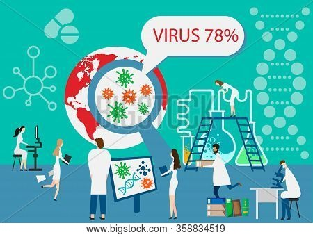 Epidemiology. Health Danger Risk Spread Laboratory. Tiny Bacteria Pandemic Outbreak Research.vector