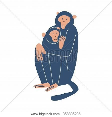 Blue Female Monkey Sitting And Holding Her Monkey Cub Vector Illustration