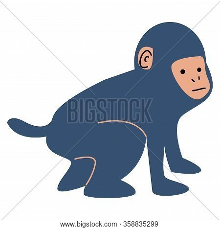 Cartoon Cute Small Blue Monkey Cub Vector Illustration