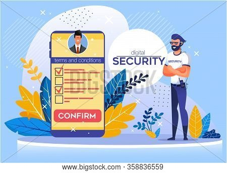 Application For Mobile Offering Digital Security. Protection Business Data And Personal Information.
