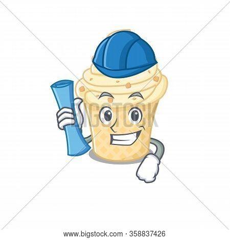 Cartoon Character Of Vanilla Ice Cream Brainy Architect With Blue Prints And Blue Helmet