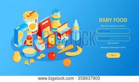 Isometric Baby Food Horizontal Banner With Fields For Username And Password Clickable Button And Chi