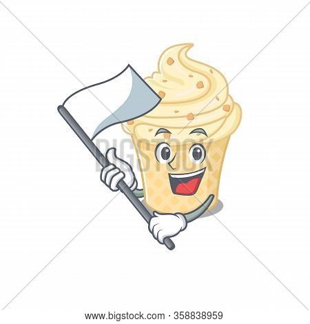 A Nationalistic Vanilla Ice Cream Mascot Character Design With Flag