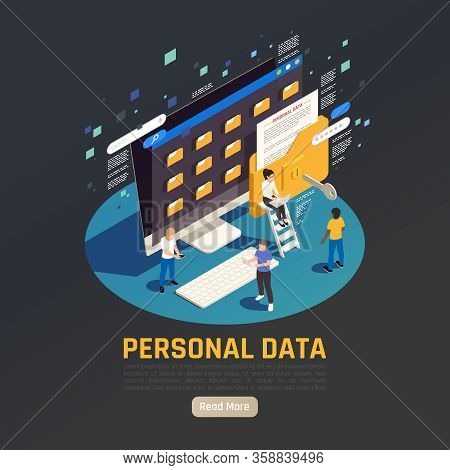 Privacy Data Protection Gdpr Isometric Background With Desktop Computer With Folders People And Read