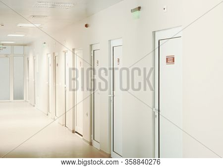 Modern European Hospital. Healthcare Facility. Empty Hospital Corridor.