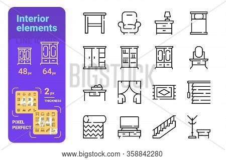 Home Interior Elements Line Icons Set Vector Illustration. Collection Of Arm-chair, Wardrobe, Dressi
