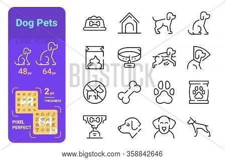 Dog Pets Line Icons Set Vector Illustration. Collection Of Dog Bowl, Doghouse, Dog-collar, Litter, P