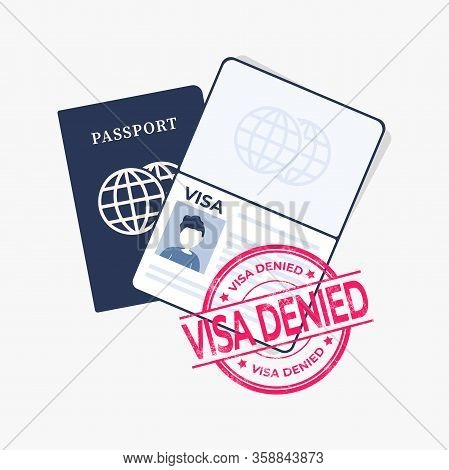 Passport With Red Stamped, Visa Denied. Vector