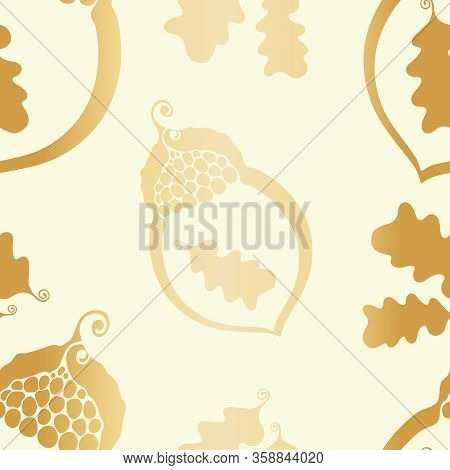 Gold Foil Acorn And Oak Leaves Seamless Vector Pattern Background. Modern Hand Drawn Nature Symbol M