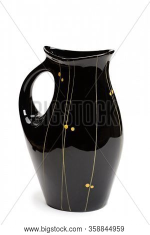 Ceramic vase made in the USSR in 1960-65. Isolated on a white.