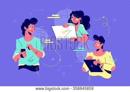 Friendly Teamwork Collaboration Vector Illustration. Cooperation Time. Team Of Co-workers Creative N