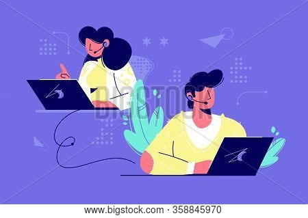 Call Center Assistants Vector Illustration. Man And Woman Operators In Headset Advising Customers Fl