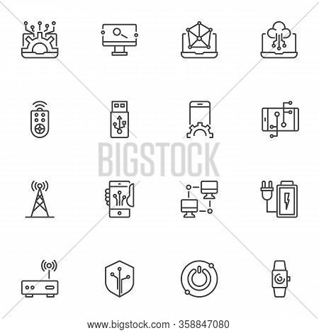 Electronic Technology Line Icons Set. Linear Style Symbols Collection, Outline Signs Pack. Vector Gr