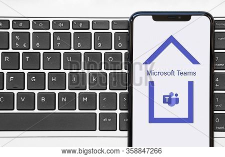 Rotterdam, The Netherlands - April 2020: Smartphone With Microsoft Teams App Logo Inside House Worki