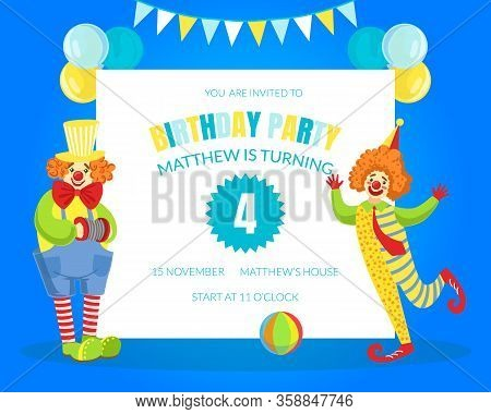 Welcome To Clown Show Invitation Poster Or Banner Template, Circus Performance With Funny Clowns Vec