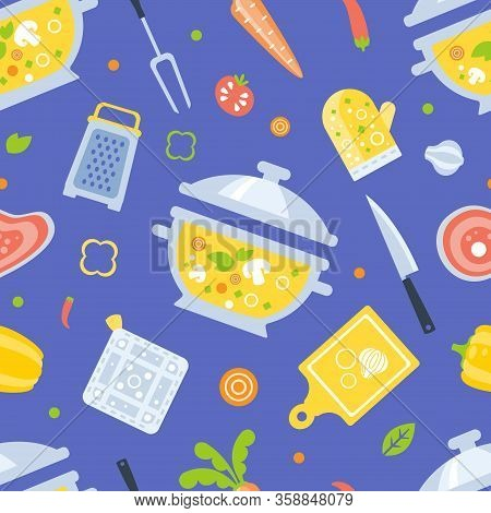 Healthy Cooking Seamless Pattern, Kitchen Utensils And Fresh Products, Design Element Can Be Used Fo