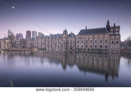 The Hague - February 17 2019: The Hague, The Neherlands. Binnenhof Castle, Dutch Parliament, With Th