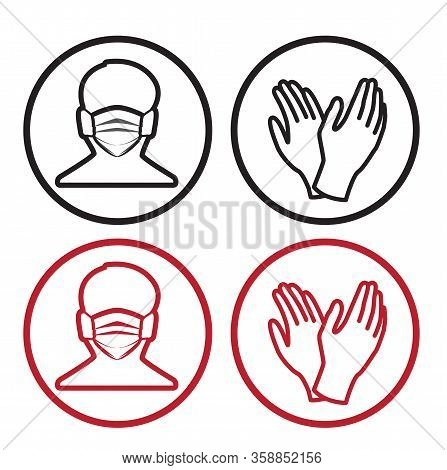 Vector Illustration For Graphic And Webdesign, Face With Mask And Gloves Icon. Medical Masks For Fac