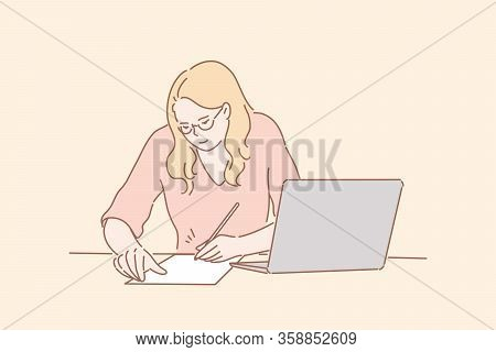 Office Worker Signing Contract, Business Concept. Young Businesswoman Office Secretary, Clerk Or Man