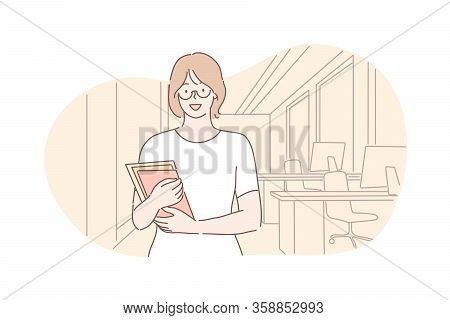 Business Woman, Student, Clerk In Office, Advertising Concept. Young Businesswoman, Girl Clerk Or Ma