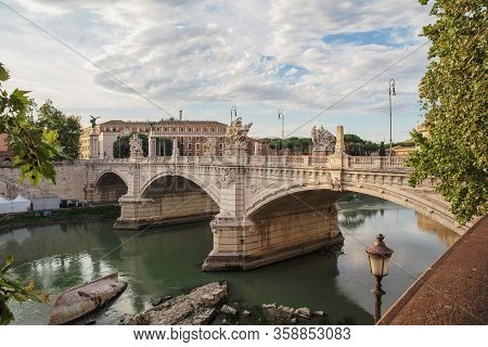 Charming View Of The Ponte Vittorio Emanuele Ii Bridge In Rome, Italy, Named After The King Of Sardi
