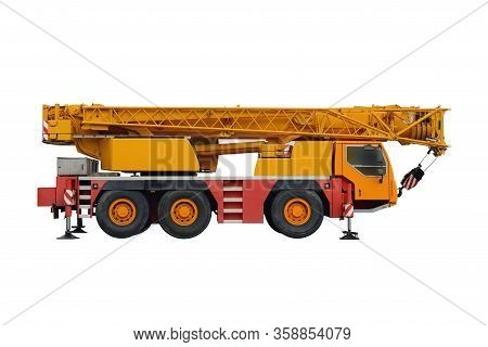 Image Of Yellow Mobile Crane Isolated On White Background