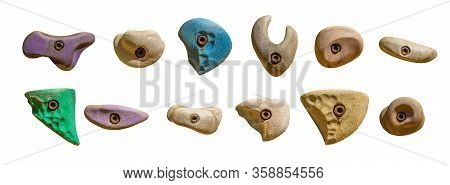 Set Of Grips Different Colors And Shapes For Climbing Wall Isolated On White Background