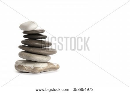Pile Of Sea Pebbles Isolated On White Background, Heap Of Rounded Stones, Isolated On White