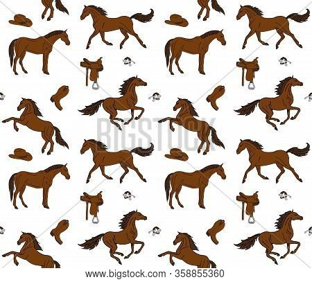 Vector Seamless Pattern Of Hand Drawn Doodle Sketch Colored Horses And Cowboy Western Equipment Isol