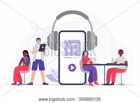 Podcasting. Multicultural Team With Headphones Record Podcasts. Men And Women With Smartphones Liste