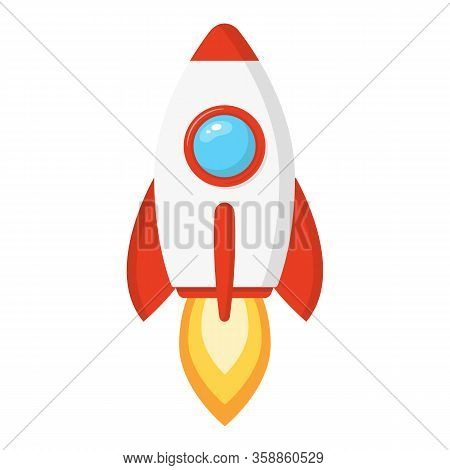 Rocket Ship In A Cartoon Style Isolated On White Background. Space Rocket Launch. Project Start Up A