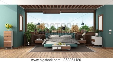 Luxury Bedroom Suite With Green Double Bed ,wooden Ceiling And Large Windows - 3d Rendering
