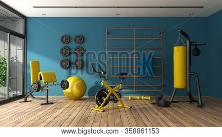 Blue Home Gym With Punching Boxer,cyle And Other Fitness Equipment - 3d Rendering