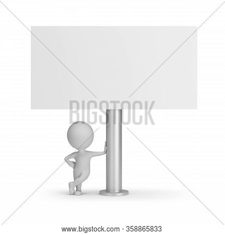 3d Small Person Next To The Billboard. 3d Generated Image. White Background.